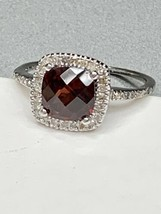 Ema Garnet Ring with Diamond in 14K White Gold Sz 6 - $214.45