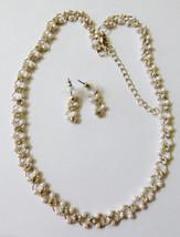 "Silver Tone White Pearl Faux & Rhinestones Necklace 18""L & Earrings Bridal set - $23.76"