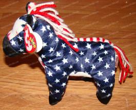 Retired Ty Beanie Babies, Lefty the Donkey (P.E. Pellets) July 4, 2000 - $12.38