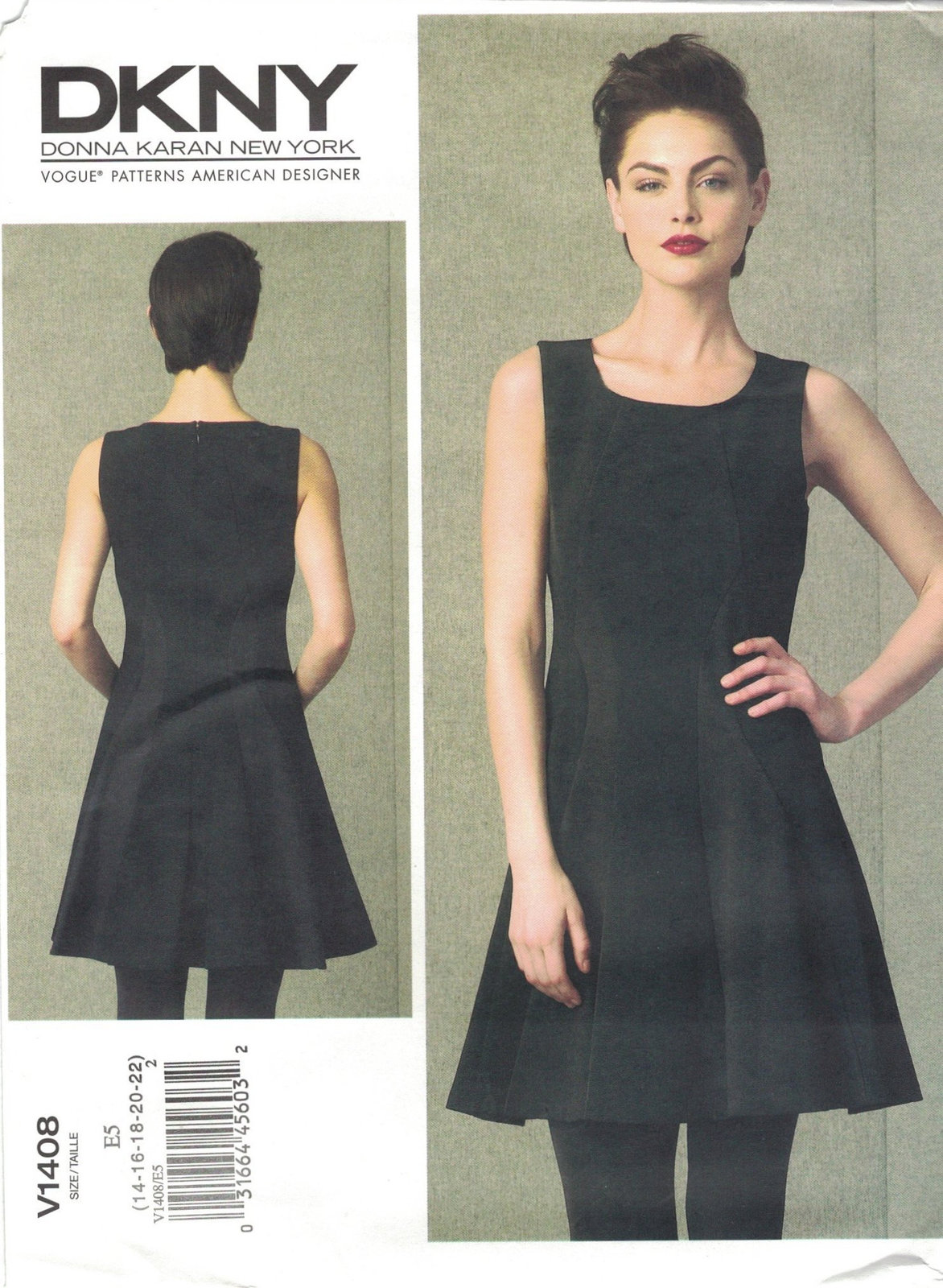 Primary image for Vogue 1408 DKNY Donna Karan Sleeveless Knit Dress Pattern Size 14 16 18 20 22 UC