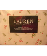 Ralph Lauren Pine and Holly Branches Berries on White Sheet Set Queen - $82.00