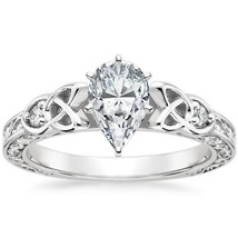 Pear Shape Diamond Celtic Engraved Engagement Ring - GIA Flawless - $2,419.30