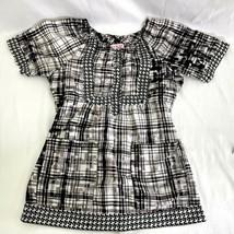 Koi Kathy Peterson Scrub Top Black White Checks Small Stretch Peasant Boho - $18.80