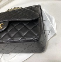 100% Authentic Chanel BLACK QUILTED LAMBSKIN JUMBO CLASSIC DOUBLE FLAP BAG GHW image 5