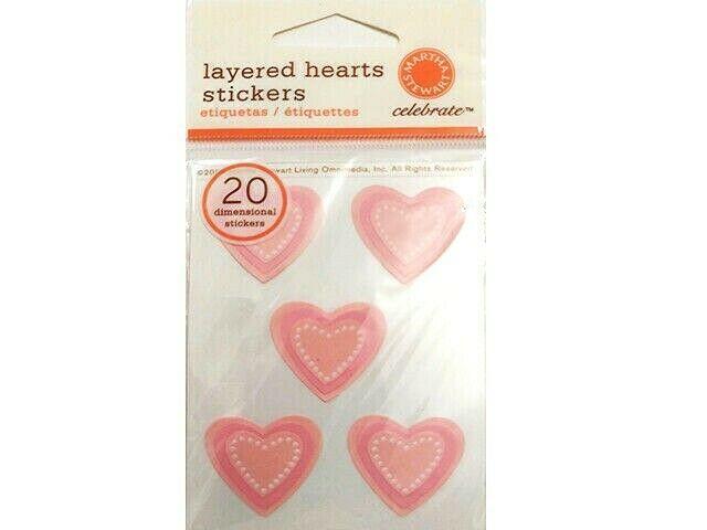Martha Stewart Layered Hearts Stickers, Set of 20 #MA921209