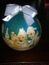Enesco Precious Moments 1994 Decoupage Christmas Ornament Playing in the Snow - $7.59