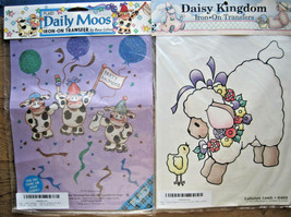 2 Iron-On Transfers Fabric Decoration Lullabye Lamb & Daily Moos Cows New - $14.95