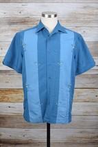 Cubavera Shirt Sz S Small Blue Rayon Blend S/S B/F Martini Glasses #309 - $16.44