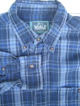 Men's Size LARGE Woolrich Shirt  100% Cotton Navy Blue Plaid Check Pattern - $23.21