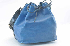 LOUIS VUITTON Epi Petit Noe Bicolor Shoulder Bag Blue/Black Auth SS878 - $230.00