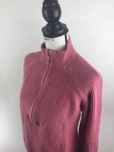 WOOLRICH Zip Up V-Neck Rose Bud Pink Knit Cotton Sweater Women's Size 2XL - $470,06 MXN