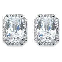 PalmBeach Jewelry 17.50 TCW Emerald-Cut Cubic Zirconia Silvertone Halo Earrings - $23.99