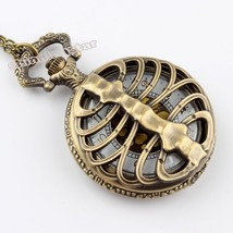 Fashion Bronze Vintage Pocket Watches Necklace chain Pendent Fishing Ant... - $4.90