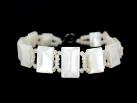 Antique Deco 1920's Sterling Mother Of Pearl Crochet Beaded Link Bracele... - $53.99