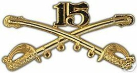 ARMY 15TH CAVALRY GOLD LAPEL HAT PIN - $13.53