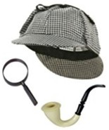 Sherlock Holmes Detective Kit Hat Pipe Magnifing Glass One Size Fast Ship - $14.95