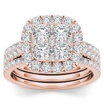 IGI Certified 14k Rose Gold 2.00 Ct Diamond Halo Two Bands Engagement Ri... - $1,538.49