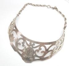 VTG Wayne Handmade Sterling Silver Choker Monogram Victorian Revival Nec... - $371.25
