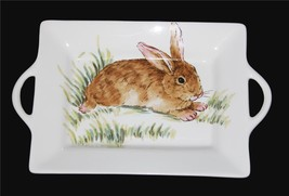 "Maxcera Bunny in Grass Rectangle 14-7/8"" x 9-1/2"" Tray / Platter w/Handl... - $42.99"