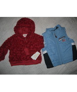 Lot / 2 Girls 12 Mo Jacket NEW FURRY Red Hoodie Blue U.S. Polo Puffer Ve... - $13.95