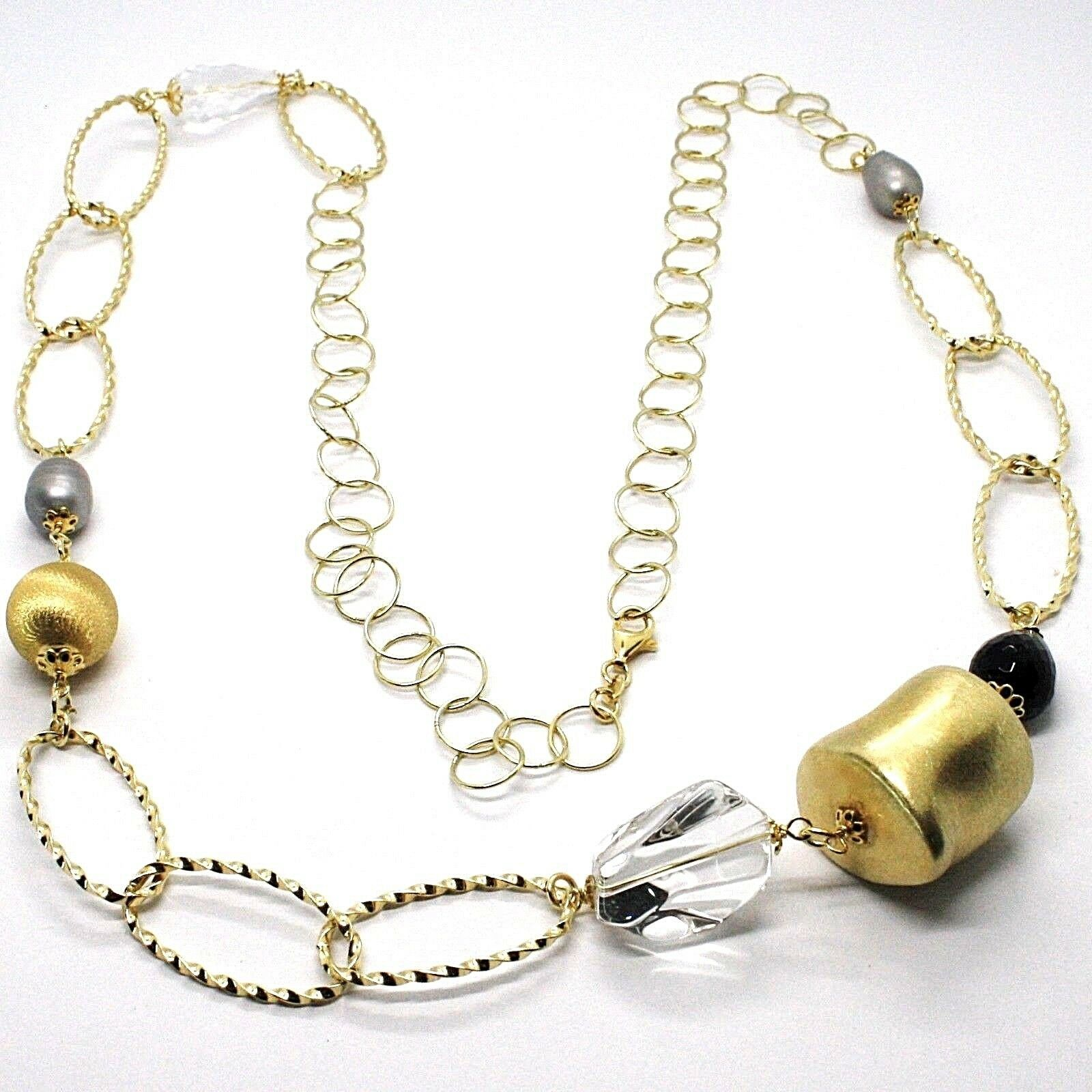 SILVER 925 NECKLACE, YELLOW, ONYX, PEARLS GREY, OVALS TWISTED, 95 CM