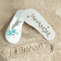 Just Married- Brides White & Blue Flip Flops Wedding Bridal Sandals Large - $7.30