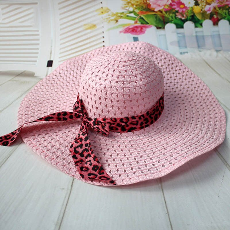 Women Straw Sun Hat With Leopard Ribbon Wide Brim Floppy Foldable Cap Summer Bea image 2