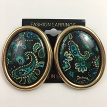 Vintage Big Paisley Oval Pierced Earrings Green Blue Gold Tone NOS State... - $9.84