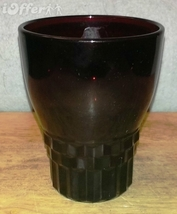 MID CENTURY MODERN 1960'S RETRO- ANCHOR HOCKING GLASS ROYAL RUBY JUICE G... - $8.95