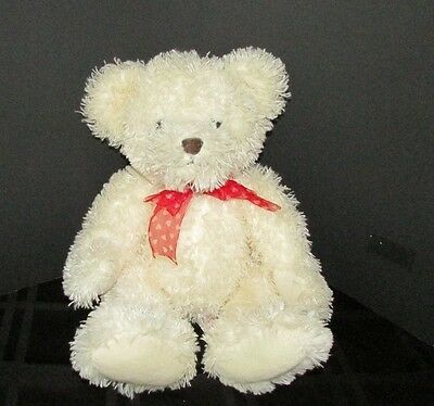 Primary image for Russ Willow plush teddy bear off white red bow bean bag tush 15""