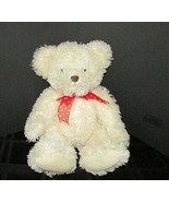 "Russ Willow plush teddy bear off white red bow bean bag tush 15""  - $19.79"