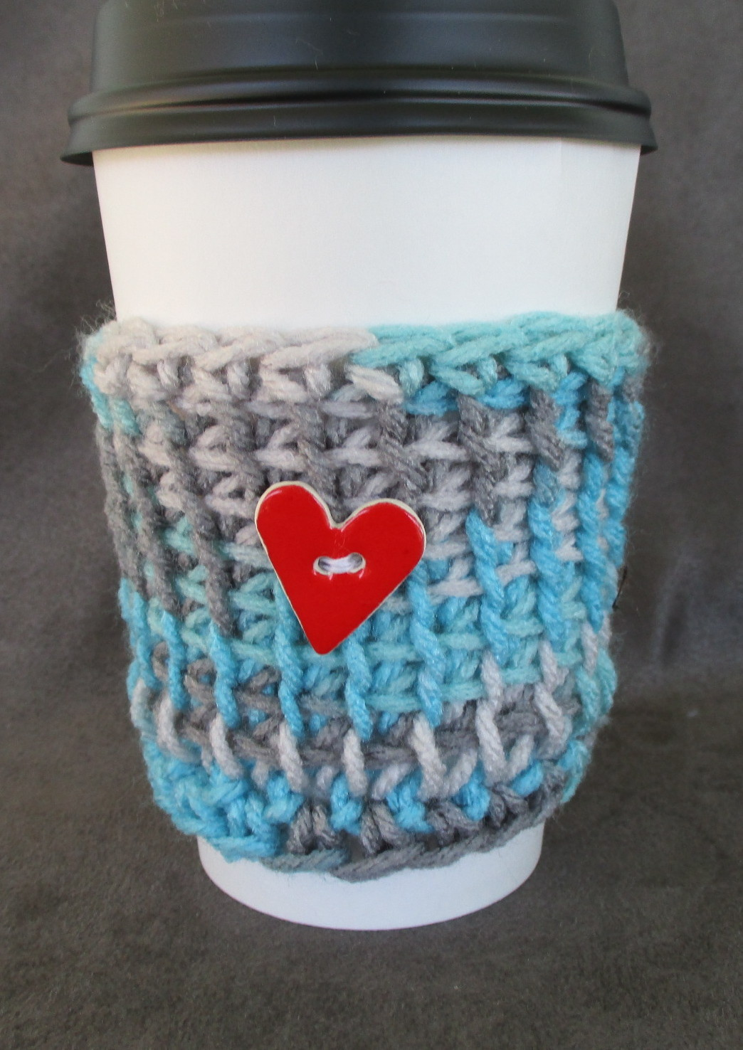 To Go Cup Cozy Sleeve in aqua blue and gray with heart button