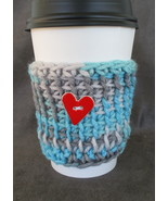 To Go Cup Cozy Sleeve in aqua blue and gray with heart button - $5.95