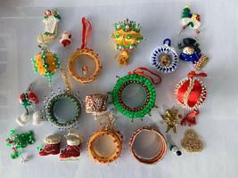 DAMAGE LOT Vintage Handmade Satin Christmas Ornament Pearl Beaded Sequin... - $30.00