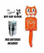 "PUMPKIN DELIGHT KIT CAT CLOCK 15.5"" Orange Free Battery USA MADE Kit-Cat... - $69.99"