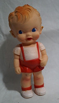 """Vintage 1950s Ruth E Newton Sun Rubber Baby Squeak Toy Doll 8"""" Overalls - $29.99"""