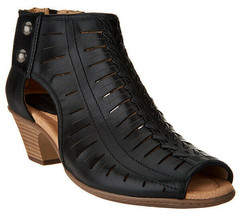 Earth Leather Cut-out Heeled Sandals - Vicki Black 8.5 M - $84.14