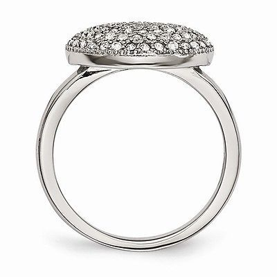 CHISEL BRAND STAINLESS STEEL POLISHED CIRCLE  RING WITH CRYSTALS -  SIZE 6