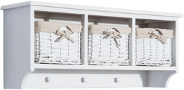 "NEW 32"" Rustic Floating Shelf with Coat Hooks and Baskets - Antique White - $134.51"