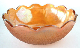 Tree Bark Carnival Glass Bowl Marigold Master Berry Bowl Iridescent Glas... - $18.00