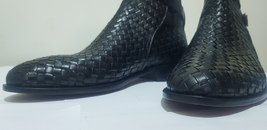 Handmade Men Black Leather Monk Strap High Ankle Boot image 6