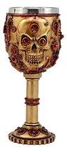 Ebros Gift Golden Age Steampunk Mechanical Gearwork Skull Face Wine Gobl... - $18.76