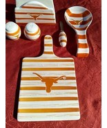 Texas Longhorns 6 Piece Ceramic Set - Salt & Pepper, Cutting Board, and ... - $39.97