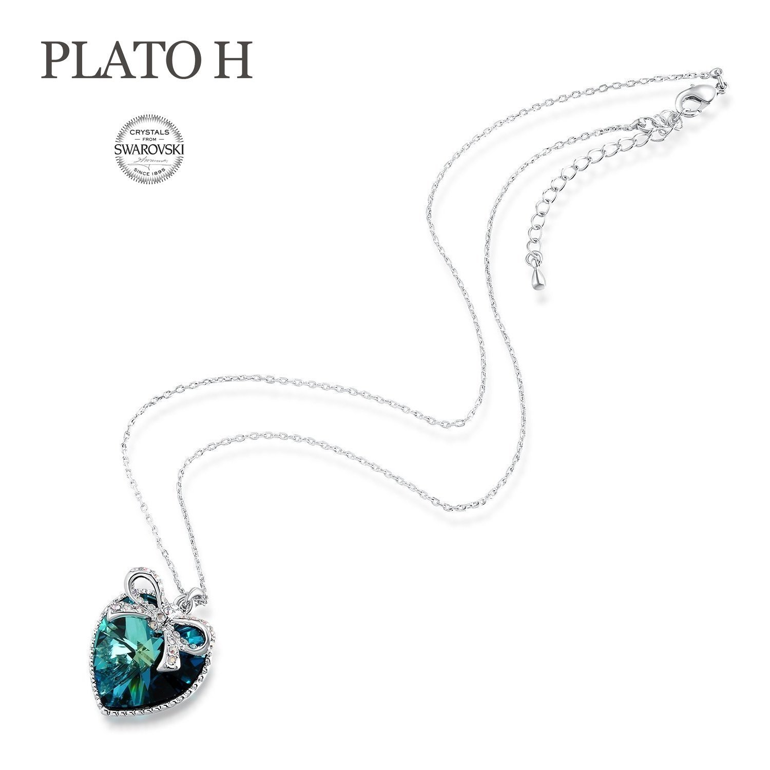 【Gift Packaging】 Woman Christmas Gifts Neckalce PLATO H Blue Heart Butterfly Nec