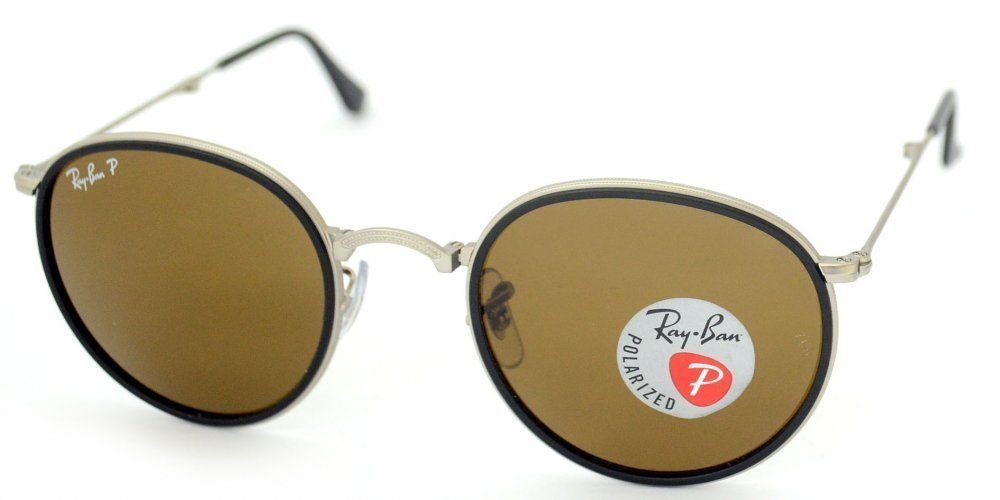 36e8a1a6f527c2 New Ray Ban Round Folding RB3517 019 N6 Silver w Brown Polarized 48mm -  £142.62 GBP