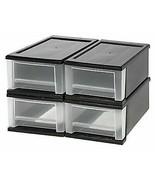 Iris Stacking Drawers -- Set of 4 -- 7 Quart Each -- Black w/ Opaque Dra... - $44.55