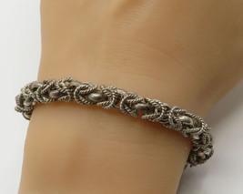 MEXICO 925 Sterling Silver - Vintage Byzantine Wheat Chain Bracelet - B2321 - $103.24