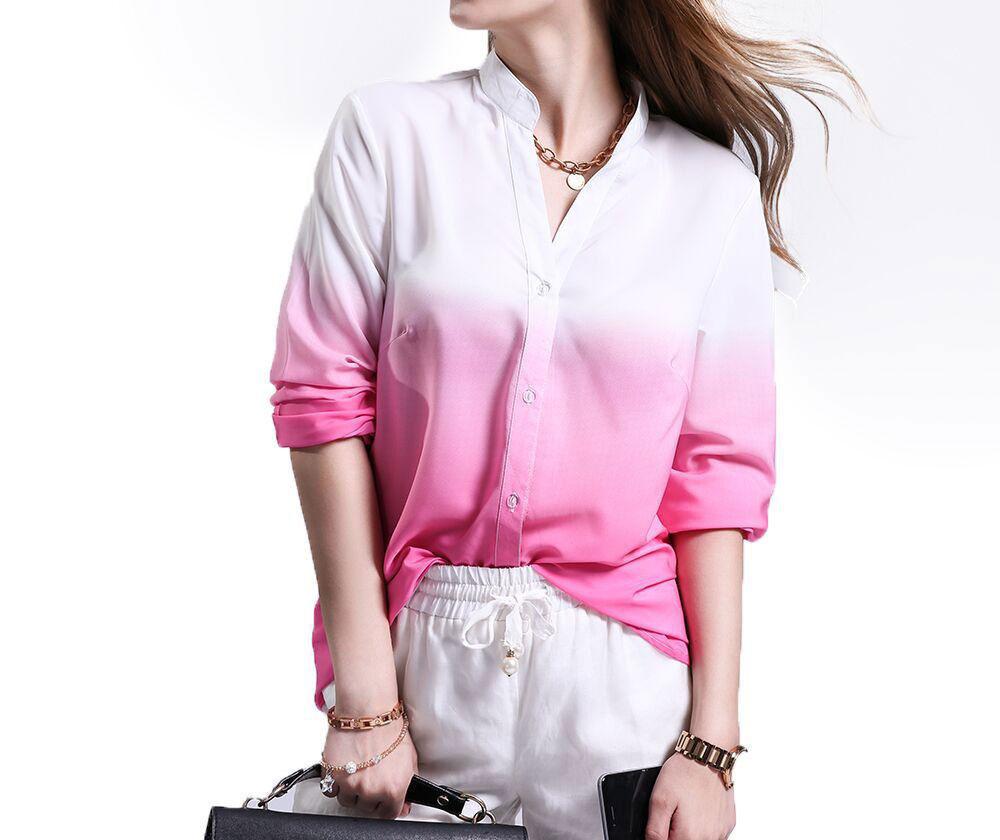 Button Down Deep V Gradient Color Slim Fit Casual Women Long Sleeve Shirt Blouse