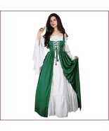 Medieval Damsel Green Lace Up Kittle Skirt Long Flare Sleeves Off Should... - $79.95