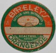 Vintage milk bottle cap BIRELEYS ORANGEADE Good Housekeeping seal 1933 u... - $9.99